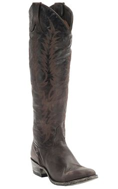 Awesome boots with an already broke in feel...also I love the rounded toe, they work much better for me....Old Gringo Women's Mayra Distressed Chocolate Tall Round Toe Western Fashion Boots
