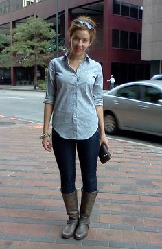 ag jeans, linea pelle wallet, theory blouse and frye boots.