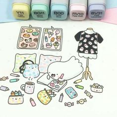 Welcome to the kawaii shop of KiraKiraDoodles :) Kawaii Doodles, Cute Kawaii Drawings, Cute Doodles, Kawaii Art, Copic Drawings, Doodle Drawings, Easy Drawings, Doodle Art, Copic Art