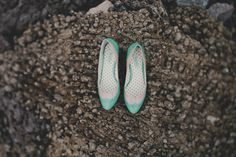 mint green wedding shoes, photo by Red White & Green Photography http://ruffledblog.com/swansboro-backyard-wedding #shoes #mint #wedding