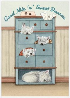 A dresser full of west highland terriers (westies) / Lynch signed folk art print by watercolorqueen on Etsy West Highland Terrier, Highlands Terrier, Terrier Dogs, Pitbull Terrier, Terriers, Westies, Cutest Dog Ever, West Highland White, Dog Illustration