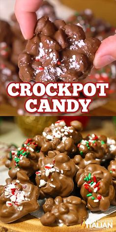 christmas desserts Crockpot Candy is the easiest and most impressive homemade candy ever. A rich chocolaty, peanutty 4 ingredient recipe that you simply toss in the slow cooker, stir a few times and scoop it out. It doesnt get much easier than that! Christmas Deserts, Holiday Desserts, Holiday Baking, Holiday Treats, Holiday Recipes, Christmas Parties, Easy Christmas Treats, Christmas Goodies, Christmas Meal Ideas