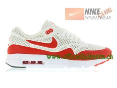 online store 9d146 4a0cf Nike Air Max 1 Ultra Moire - Chaussure Nike Sportswear Pas Cher Pour Homme  Blanc Rouge 705297-106