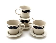Mustache moustache teacups and saucers set of four by LennyMud, $32.00