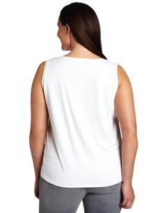 Karen Kane Women's Plus Size Soft Long Tank Shirt Long Tank Tops, Plus Size Tank Tops, Plus Size Dresses, Plus Size Outfits, Karen Kane, Basic Style, White Tank, Tank Top Shirt, Plus Size Fashion