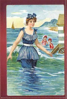 Bathing Beauty in 1910's Swimming Suit gla240 by postcardcity, via Flickr