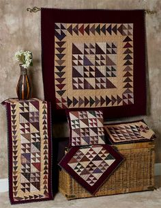 Flying Geese Tea Dyed Quilts | Choices Quilts offers Flying Geese Tea Dyed Quilts handmade for you! You can shop online or call us toll-free @ 1-800-572-2070 or 770-641-9700.
