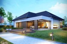 Decorating Your American Bungalow Style House Modern Style Homes, Modern House Design, Future House, Bungalow Style House, One Storey House, Facade House, Home Fashion, Exterior Design, Modern Architecture