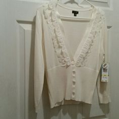 Nine West sweater NWT winter white.  Very pretty, sheer petal like design around neck line Nine West Tops Button Down Shirts