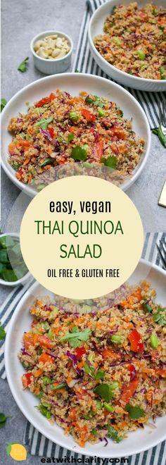 Vegan Thai Quinoa Salad - Whole Food Plant Based Diet Recipes - Vegan Recipes Vegan Recipes Easy, Beef Recipes, Whole Food Recipes, Vegetarian Recipes, Vegetarian Cooking, Curry Recipes, Quinoa Salad Recipes, Vegan Quinoa Recipes, Vegan Food