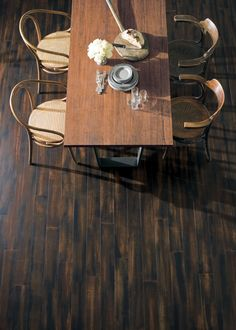 These bamboo floors are in beautiful dark color with a hand scraped texture…