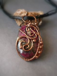 Pendant copper wire wrap Valkyrie with eudialyte by ElanorStudio