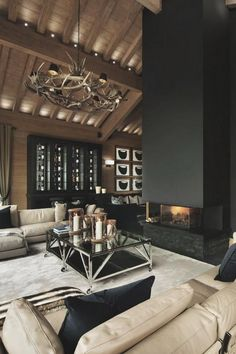 How to Arrange Living Room Furniture. Arrangement Ideas and Layouts for Living Rooms Cute Living Room, Classy Living Room, Dark Living Rooms, Beautiful Living Rooms, New Living Room, Living Room Furniture, Deco House, Modern Lodge, Living Room Decor Inspiration