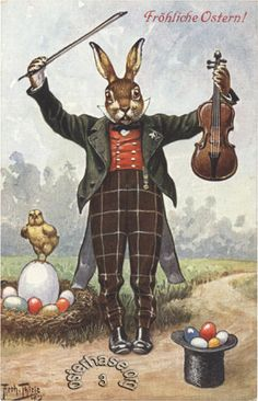 Postcard Thiele Easter Rabbit with Violin 1912 T s N Series 1157