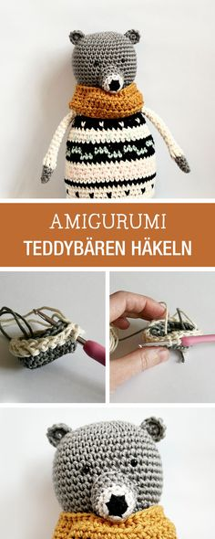 DIY-Anleitung: Amigurumi Teddybären als Kuschel-Kumpel häkeln, Kinderspielzeug oder Wohndeko / DIY tutorial: crocheting amigurumi teddy bear as kuddling toy, childrens soft toy via DaWanda.com