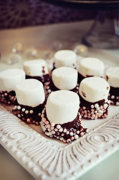 Chocolate dipped marshmallows with pearl sprinkles. Lace Baby Shower, Shabby Chic Baby Shower, Girl Shower, Chocolate Dipped Marshmallows, Marshmallow Dip, Bridal Showers, Baby Showers, Nikki Baby, Tiffany Party