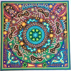 23.5 Mexican Huichol Octagonal Peyote yarn painting by Aramara