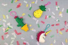 3 Ways to Make DIY Felt Christmas Decorations #christmas #felt #decoration #trendy #diy #pineapple #unicorn #cactus