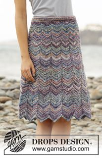 "The Wave - Knitted DROPS skirt with zig-zag pattern and stripes in ""Fabel"". Size S- XXXL - Free pattern by DROPS Design"
