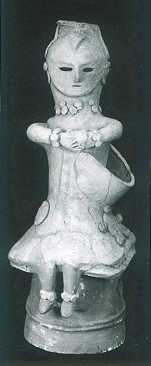 The Kofun period (AD.250?AD.592) art, Haniwa terracotta--seated clay figure. Saitama Japan.