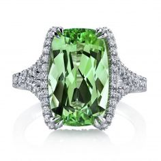 Tsavorite and diamond platinum ring by Omi Prive