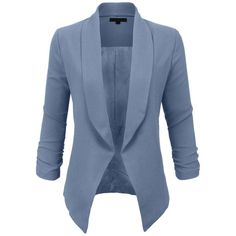 LE3NO Womens Textured 3/4 Sleeve Open Blazer Jacket ($22) ❤ liked on Polyvore featuring outerwear, jackets, blazers, blazer, blue blazer, three quarter sleeve jacket, blazer jacket, 3/4 sleeve blazer and blue jackets