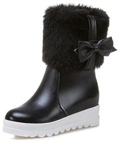 Women's Dressy Fluffy Fur Low Chunky Heeled Round Toe Pull On Mid Calf Snow Boots