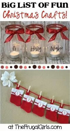Get inspired with this BIG List of fun Christmas Crafts! BIG List of Creative Gifts in a Jar! BIG List of Photo Freebies, Deals & Crafts! Easy Christmas Crafts, Noel Christmas, Homemade Christmas, Christmas Projects, Simple Christmas, All Things Christmas, Winter Christmas, Christmas Gifts, Christmas Decorations