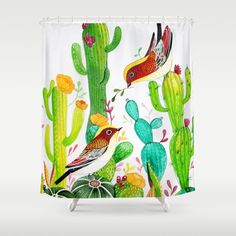 Bird with Green Cactus Shower Curtain