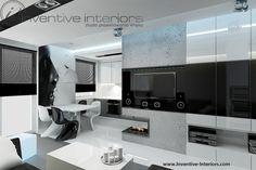 Projekt salonu Inventive Interiors - biokominek we wnęce w minimalistycznym salonie