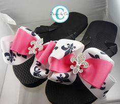 Fleur de Lis Bow Flip Flops  Rhinestone, choose your bow colors,  Bling Buckle Boutique Ribbon Flip Flops on Etsy, $36.00
