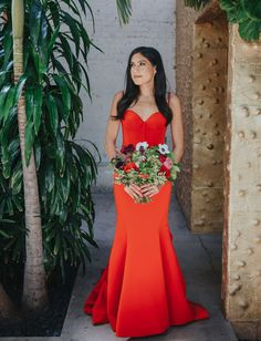The Bride Rocked a Fiery Red Dress for this Vibrant LA Wedding Red Bridesmaids, Red Bridesmaid Dresses, Colored Wedding Dresses, Green Wedding Shoes, Wedding Dress Styles, Wedding Orange, Romona Keveza Wedding Dresses, Wedding Gowns, Red Dress Outfit