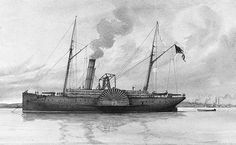 LSNS Governor Moore was a schooner-rigged steamer in the Confederate States Navy.   The colorful Lieutenant Beverly Kennon, CSN, had sought CSS Florida's command but had to be content with CSS Governor Moore shown here.  She distinguished herself in the battle of 24 April 1862, when Admiral David Farragut, USN, passed Fort Jackson and Fort St. Philip before dawn en route to capture New Orleans. After a furious exchange of raking fire, Governor Moore twice rammed USS Varuna.