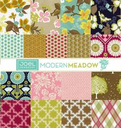"""A vintage revival of charming prints. Dogwoods, sunflowers, and handpicked daisies invoke a modern yet retro flavor. Collection: Modern Meadow Designer: Joel Dewberry Content: 100 % cotton Quilting & Fashion weight fabric Each fat quarter piece measures: 18L x 21""""W {46cm x 55cm}  Includes one fat quarter of each of the following prints: 1. Dogwood Bloom, Harvest JD-31 2. Dogwood Bloom, Pink JD-31 3. Dogwood Bloom, Sunglow JD-31 4. Dogwood Bloom, Lake JD-31 5. Acorn Chain, Pond JD-32 6. Acorn…"""