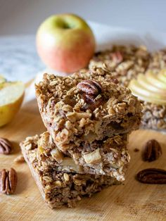 Apple Pecan Baked Oatmeal | Vegan no added sugar