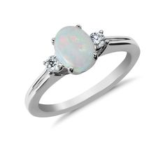 Lovely! Opal and Diamond Ring in 18k White Gold | #Wedding #Jewelry #Style