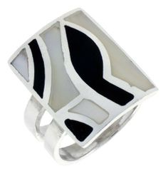 "Sterling Silver Rectangular Shell Ring, w/Black & White Mother of Pearl Inlay, 15/16"" (24mm) wide, size 8 Sabrina Silver. $47.70"