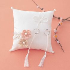 Ring Pillow In Satin With Embroidered Petals and Pearls (More Colors)