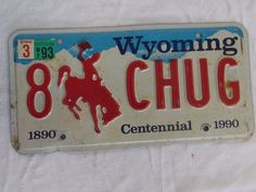 1993 Wyoming license plate centennial 8CHUG