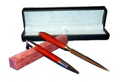 Desk Set, Diva style hand turned pen with a red Swarovski crystal, hand turned letter opener featuring bloodwood, black leatherette gift box on Etsy, $60.00