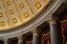 Neoclassical architectural symbolism inside a side area of the Capital building rotunda