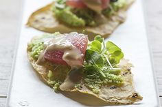 Tortilla crisps with edamame puree and sashimi recipe, Bite – The edamame puree and sesame aioli can both be made the day before and kept refrigerated until ready to use You can buy sashimigrade fish already thinly sliced - Eat Well (formerly Bite) Small Food Processor, Food Processor Recipes, Gourmet Desserts, Dessert Recipes, Cocktails And Canapes, Homemade Sushi, Sushi Recipes, Sushi Rolls, Edamame