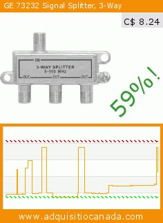GE 73232 Signal Splitter, 3-Way (Electronics). Drop 59%! Current price C$ 8.24, the previous price was C$ 19.99. https://www.adquisitiocanada.com/jasco/ge-73232-coaxial-cable