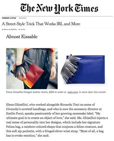 Liz clutch by #ElenaGhisellini at #The New York Times Fashion&Style.