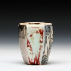 Julia Galloway Description: soda fired mid range porcelain with multiple glazes 6 sided tumbler Dimensions: 3.75h #SchallerGallery #pottery #craft #Gallery #inspire #wishlist