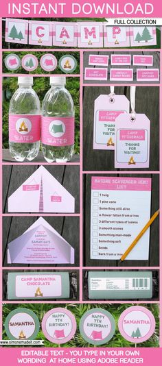 Trendy Camping Party Food Names Ideas Camping Parties, Camping Theme, Summer Parties, Camping Ideas, Camping Party Invitations, Invitation Birthday, Pink Invitations, Hershey Miniatures, Chocolate Bar Wrappers