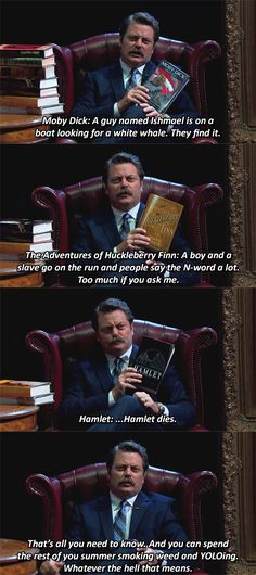 By the powers of Ron Swanson and Wishbone combined, I will never actually have to read any classic literature