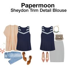Dear Stylist, I love the angled trim detail at the top of this blouse. I also like the dark color to minimize my chest. Papermoon Sheldon Trim Detail Blouse :) Cassandra