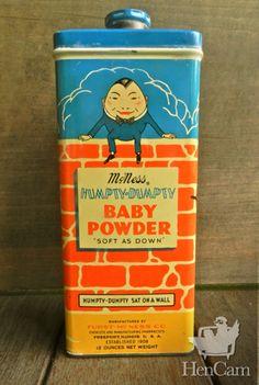 Vintage McNess Humpty-Dumpty Baby Powder Tin