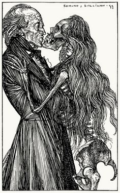 Youthful hopes, by scores, to all, When the locks are crisp and curl'd; Into me my maudlin gall And my mockeries of the world (The vision of sin)  Edmund J. Sullivan, from A dream of fair women, & other poems, by Alfred Lord Tennyson, London, 1900.